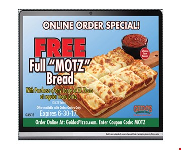 free full motz bread. Expires 6-30-17.