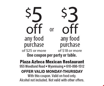 $5off any food purchase of $25 or more. $3off any food purchase of $18 or more. One coupon per party or table. Offer valid Monday-Thursday With this coupon. Valid on food only. Alcohol not included. Not valid with other offers.