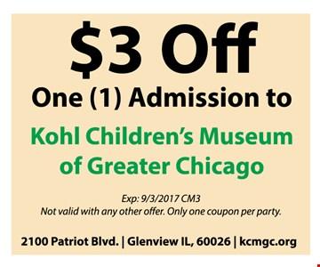 $3 off 1 admission