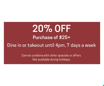 20% Off Purchase of $25+