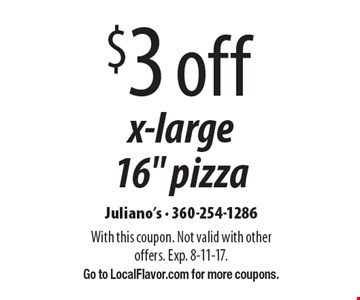 $3 off x-large 16