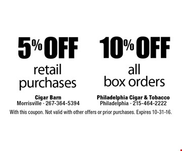 10% off all box orders. 5% off retail purchases. With this coupon. Not valid with other offers or prior purchases. Expires 10-31-16.