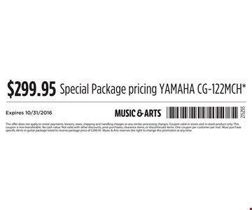 $299.95 Special Package Pricing
