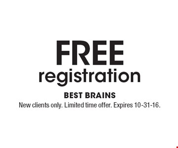 FREE registration. New clients only. Limited time offer. Expires 10-31-16.