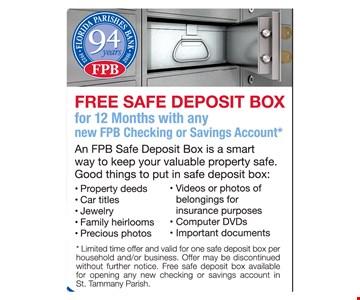 Free safe deposit box