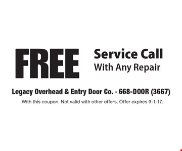 FREE Service Call With Any Repair. With this coupon. Not valid with other offers. Offer expires 9-1-17.