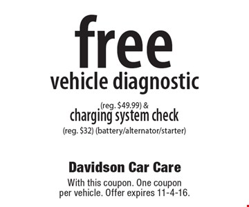 Free vehicle diagnostic (reg. $49.99) & charging system check (reg. $32) (battery/alternator/starter). With this coupon. One coupon per vehicle. Offer expires 11-4-16.