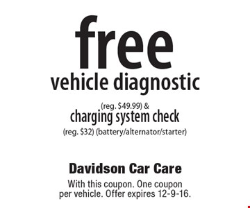 Free vehicle diagnostic (reg. $49.99) & charging system check (reg. $32) (battery/alternator/starter). With this coupon. One coupon per vehicle. Offer expires 12-9-16.