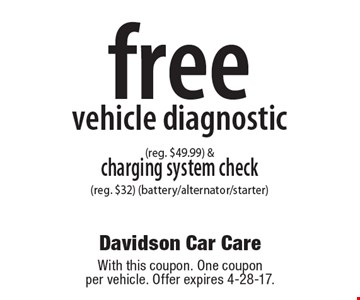 Free vehicle diagnostic (reg. $49.99) & charging system check (reg. $32) (battery/alternator/starter). With this coupon. One coupon per vehicle. Offer expires 4-28-17.