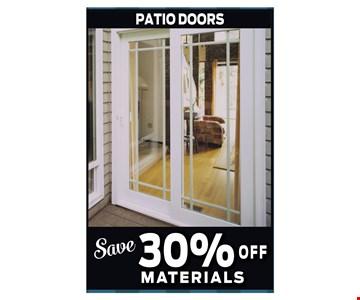 Save 30% Off Patio Door Materials