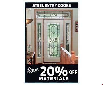 Save 20% Off Steel Entry Doors Materials