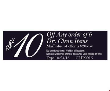 $10 off any order of 6 dry clean items