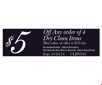 $5 off any order of 4 dry clean items