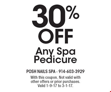 30% off Any Spa Pedicure. With this coupon. Not valid with other offers or prior purchases. Valid 1-9-17 to 3-1-17.