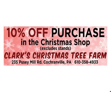 10% off purchase in the christmas shop
