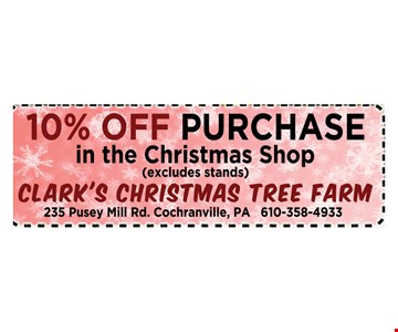 10% off purchase in he christmas shop