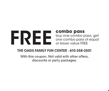 Free combo pass. Buy one combo pass, get one combo pass of equal or lesser value FREE. With this coupon. Not valid with other offers, discounts or party packages.