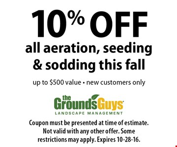 10% OFF all aeration, seeding & sodding this fall up to $500 value. new customers only. Coupon must be presented at time of estimate.Not valid with any other offer. Some restrictions may apply. Expires 10-28-16.
