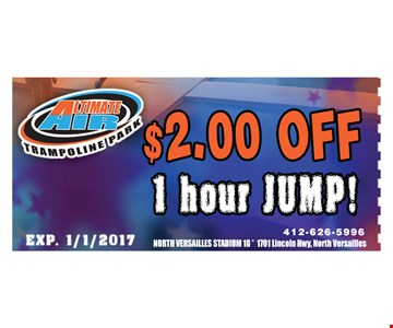 $2 off 1 hour jump! Exp. 1/1/2017