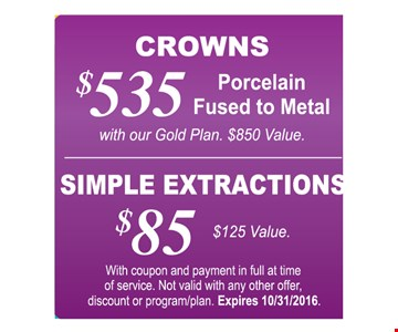 $85 simple extractions