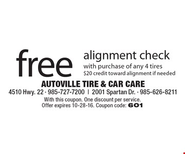 Free alignment check with purchase of any 4 tires $20 credit toward alignment if needed. With this coupon. One discount per service. Offer expires 10-28-16. Coupon code: 601