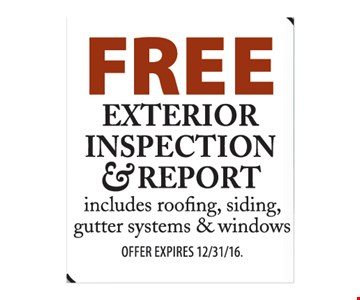 Free exterior inspection and report