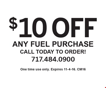 $10 off any purchase call today to order!. One time use only. Expires 11-4-16. CM16