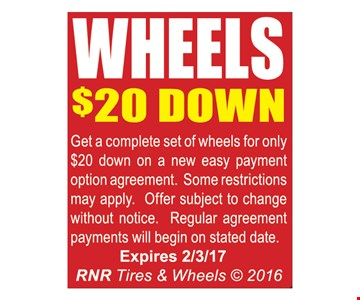 Wheels $20 down