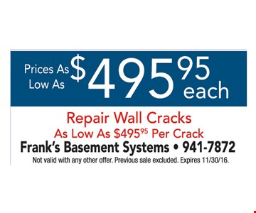 $495 each repair wall crack