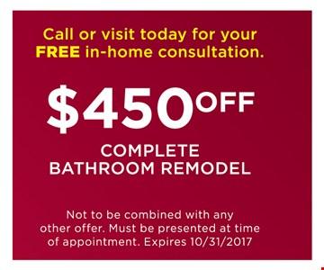 $450 off complete bathroom remodel
