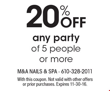 20% Off any party of 5 people or more. With this coupon. Not valid with other offers or prior purchases. Expires 11-30-16.