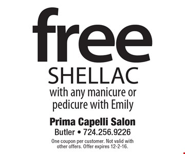 free Shellac with any manicure or pedicure with Emily. One coupon per customer. Not valid with other offers. Offer expires 12-2-16.