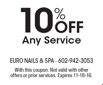 10% Off Any Service. With this coupon. Not valid with other offers or prior services. Expires 11-18-16.