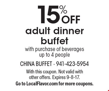 15% OFF adult dinner buffet with purchase of beverages 