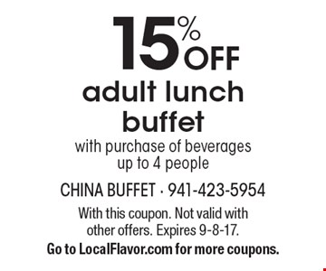 15% OFF adult lunch buffet with purchase of beverages 
