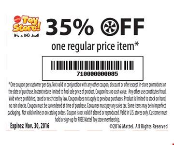 35% off one regular price item