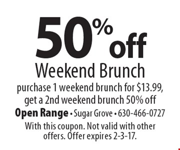 50% off Weekend Brunch. Purchase 1 weekend brunch for $13.99, get a 2nd weekend brunch 50% off. With this coupon. Not valid with other offers. Offer expires 2-3-17.