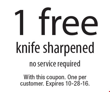 1 free knife sharpened. no service required. With this coupon. One per customer. Expires 10-28-16.