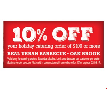 10% off your holiday catering order of $100 or more