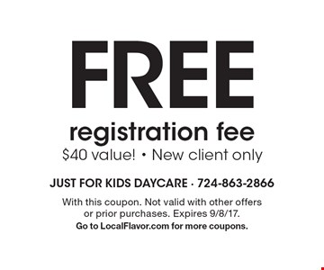 Free registration fee. $40 value! New client only. With this coupon. Not valid with other offers or prior purchases. Expires 9/8/17. Go to LocalFlavor.com for more coupons.