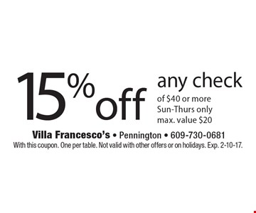 15% off any check of $40 or more. Sun-Thurs only. Max. value $20. With this coupon. One per table. Not valid with other offers or on holidays. Exp. 2-10-17.
