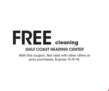 Free cleaning. With this coupon. Not valid with other offers or prior purchases. Expires 12-9-16.