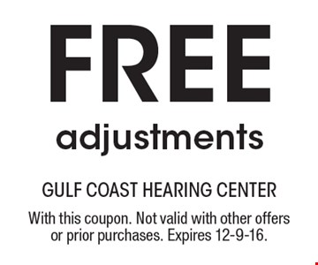 Free adjustments. With this coupon. Not valid with other offers or prior purchases. Expires 12-9-16.