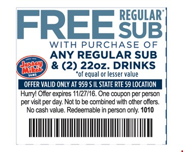 Free Regular Sub with Purchase