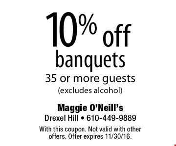10% off banquets 35 or more guests (excludes alcohol). With this coupon. Not valid with other offers. Offer expires 11/30/16.