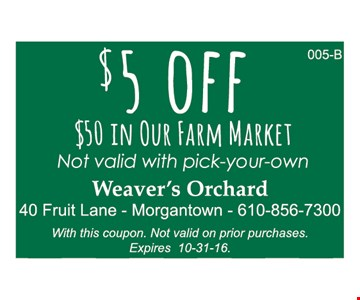 $5 off $50 in our farmers market