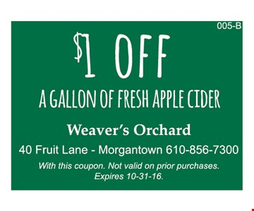 $1 off a fresh gallon of fresh apple cider