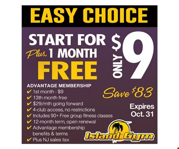 Easy Choice. Start For Only $9 Plus 1 Month Free.