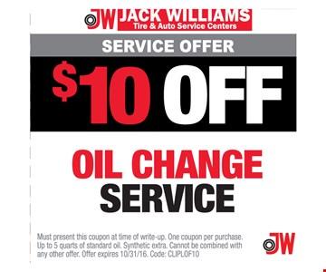 $10 Off Oil Change Service