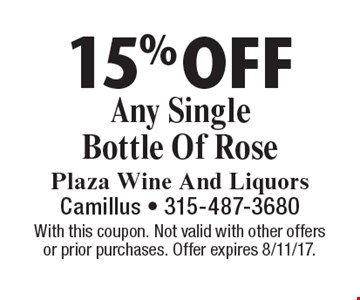 15% Off Any Single Bottle Of Rose. With this coupon. Not valid with other offers or prior purchases. Offer expires 8/11/17.